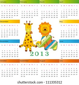 Cute calendar on New Year 2013 for kids