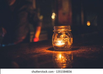 Cute candle holder made out from a glass jar