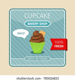 Cute card brown cupcake with gaufre, illustration