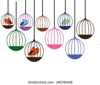 Cute cartoon birds in their cages.
