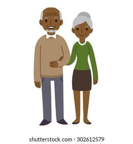 Cute cartoon black senior couple isolated on white background.