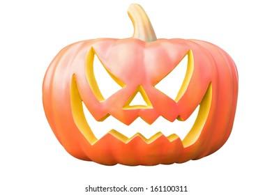 cute cartoon carved Halloween pumpkin lantern with happy smile