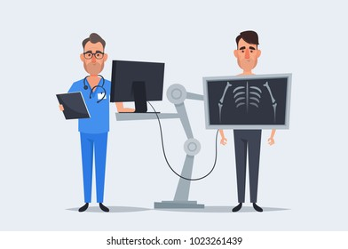 Cute Cartoon Characters. Doctor Standing Near the Patient During Chest X Ray Procedure