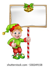 A cute cartoon Christmas elf holding a sign and giving a thumbs up