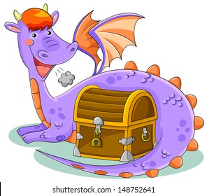 cute cartoon dragon with a treasure chest (vector available in my gallery)