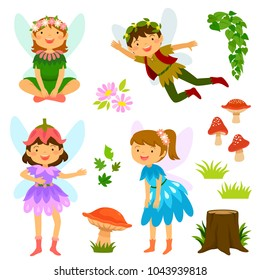 Cute cartoon fairies of both genders together with mushrooms and decorative elements