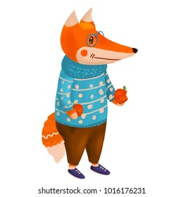 A cute cartoon fox holding two apples and wearing a sweater, glasses, trousers and shoes. A raster illustration.