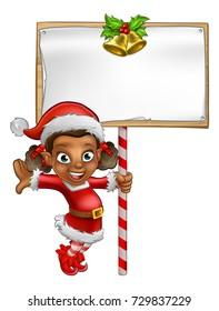 A cute cartoon girl Christmas elf Santas helper holding a sign