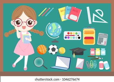 cute cartoon girl student wear glasses with blackboard