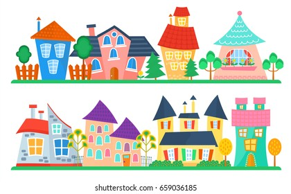 Cute cartoon houses collection. Funny colorful kid  house set. Kids street.