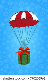 Cute cartoon illustration of christmas or new year gift wrapped with red ribbon flying on red and white parachute on blue snowy background. clip art, icon, emblem.