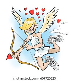 Cute cartoon illustration of a teenage cupid, spreading love, with wings and bow and arrow.