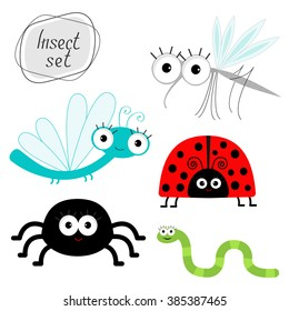 Cute cartoon insect set. Ladybug, dragonfly, mosquito, spider, worm. Isolated