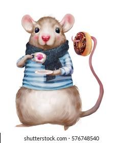 cute cartoon mouse drinking tea with donut