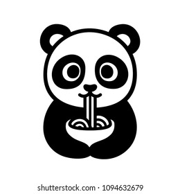 Cute cartoon panda character eating noodles from bowl. Funny Chinese food illustration. Isolated black and white clip art drawing.