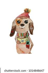 Cute cartoon puppy watercolor illustration
