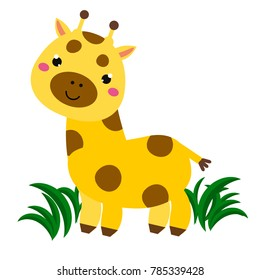 Cute cartoon smiling giraffe. Animal character for babies and children design, prints