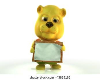 Cute cartoon teddy bear with blank board