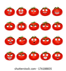 Cute cartoon tomato smile with many expressions