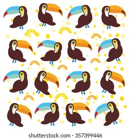 Cute Cartoon toucan birds set on white background.
