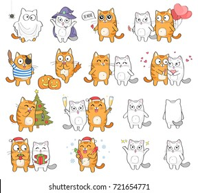 Cute cat character with different emotions, isolated on white background. Holidays set: Christmas, Halloween, Saint Valentine's Day.