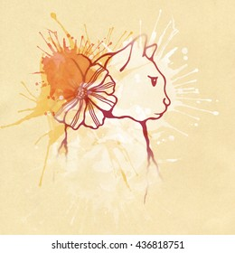 Cute cat with a flower bow in her neck. Hand drawn style illustration.