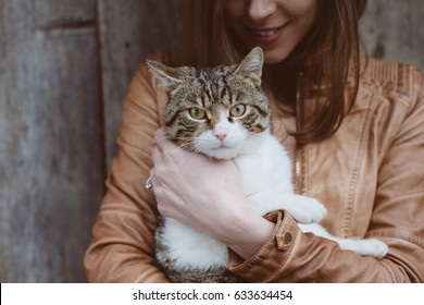 Cute cat portrait with cat owner