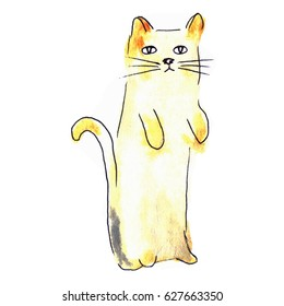 Cute cat. Watercolor kids illustration with domestic animal.