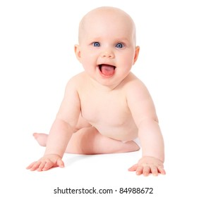 Cute caucasian baby. All on white background.