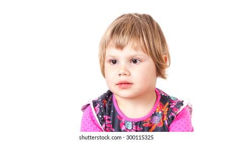 Cute Caucasian blond baby girl Girl studio portrait isolated on white
