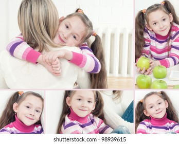 Cute caucasian girl with her mother, collage