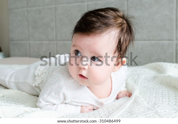 Cute Caucasian Newborn Baby Girl Black Stock Photo Edit Now 310486499