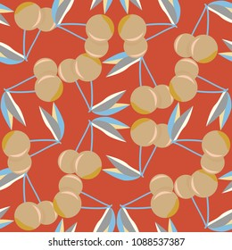 Cute cherry seamless pattern. Good for textile wrapping and wallpapers. Sweet ripe cherries background.