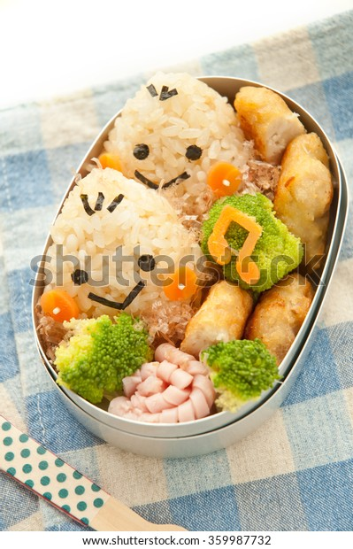 Cute chestnut motif of Japanese lunch box./Lunch of chestnut motif
