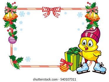 Cute chicken in funny hat ice skating. Christmas holiday frame. Copy space.  Raster clip art.