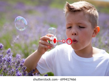 Cute child boy blowing soap bubbles and having fun in lavender field