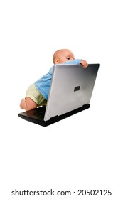 Cute child curious about new technologies