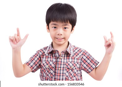 cute child doing sign language for I LOVE YOU, isolated on white background