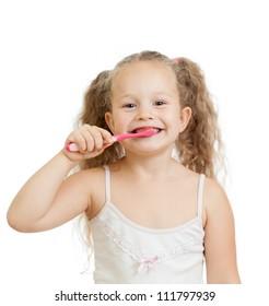cute child girl brushing teeth isolated on white background
