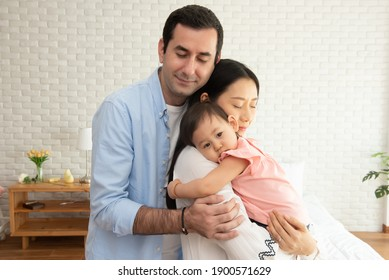 cute child with her family