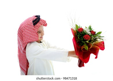 Cute child holding flowers