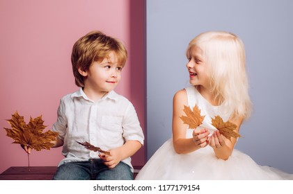 Cute child play with Leaf. Leaf fall leaves isolated. Autumn copy spaceLeaf fall trend and vogue. Autumn leaves background. Autumn celebrate. Autumn kids sale