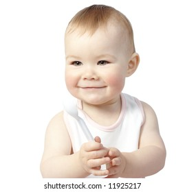 Cute child with spoon, isolated over white