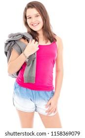 Cute child or teenager girl over white bakcground, studio shot