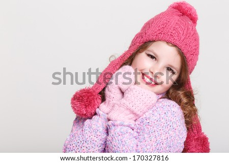 5c25422ca9a8 Cute Child Winter Hat Gloves Sweater Stock Photo (Edit Now ...