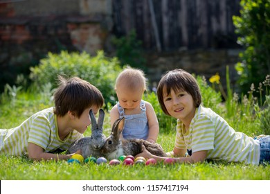Cute children, boy brothers, toddler and preschool, playing with little bunnies and easter eggs in a blooming garden, springtime. Boy play with rabbit, egg hunting for holiday