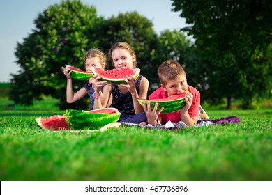 Cute children eating watermelon on a sunny day