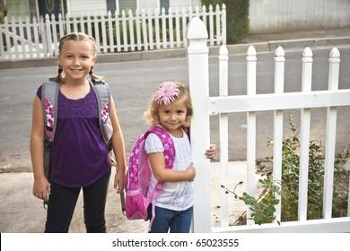 Cute Children Going to Elementary School