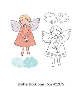 Cute Christmas angel with bell in cartoon style. Black and white and colorful for coloring book. Isolated illustration on white background