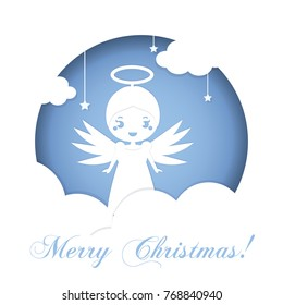 Cute Christmas angel standing on clouds in heaven. Background in paper carving, hand craft style. Seasonal winter holidays greeting card design template